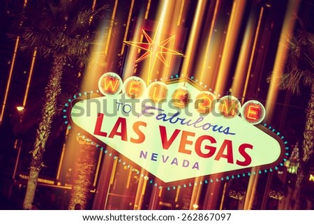 Glowing Las Vegas Sign. Welcome To Fabulous Las Vegas Nevada.  - stock photo