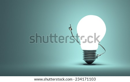 Glowing light bulb character in aha moment on squared blue background - stock photo