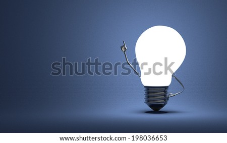 Glowing light bulb character in moment of insight on dark blue textured background - stock photo