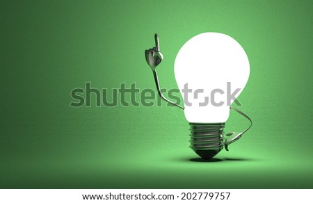 Glowing light bulb character with big metallic hands in moment of insight on green textured background - stock photo