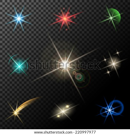 glowing lights, stars and sparkles on transparent background - stock photo