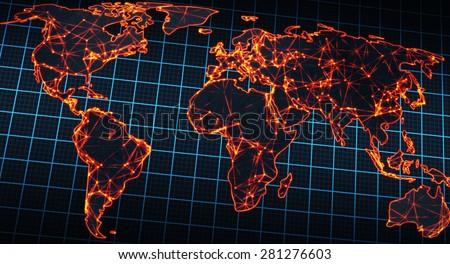 glowing map of world - stock photo