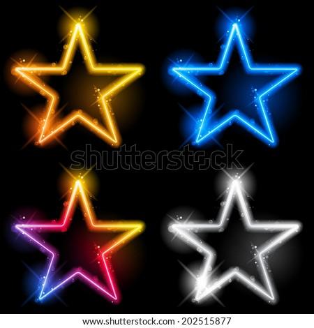 Glowing Neon Stars Set of Four - stock photo