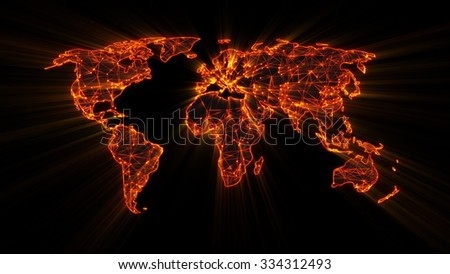 glowing orange worldwide web on world map concept   - stock photo