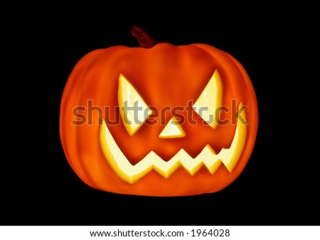 Glowing Pumpkin for Halloween - stock photo