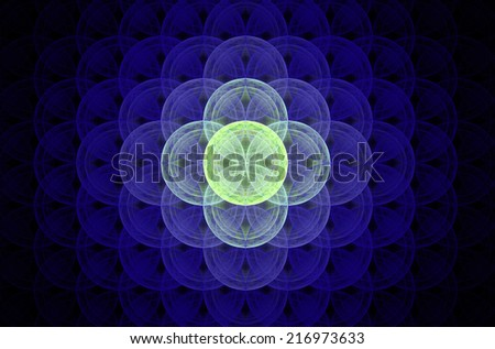 Glowing purple abstract fractal background with a detailed decorative flower of life pattern spreading from the center which is in shining green color, all against black color. - stock photo