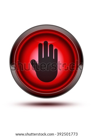 Glowing red light from traffic signal on isolated white background with and icon of a stop hand in the middle of it. - stock photo
