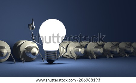 Glowing tungsten light bulb character in moment of insight standing among many switched off lying fluorescent ones on blue textured background - stock photo