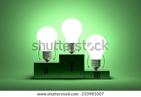 Glowing tungsten light bulb characters on podium on green textured background - stock photo