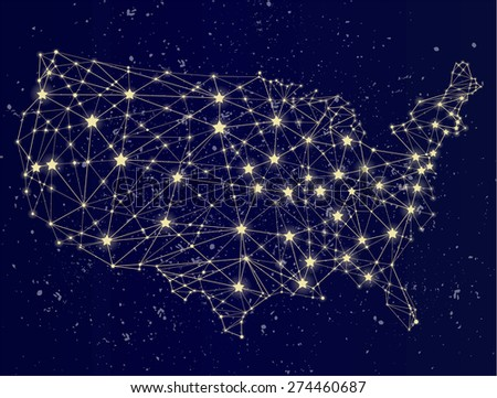 Glowing USA map on the starry sky. USA at night. Molecule style design. Raster version. - stock photo
