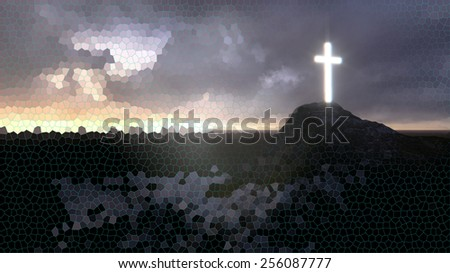 glowing wooden cross   made in 3d software - stock photo