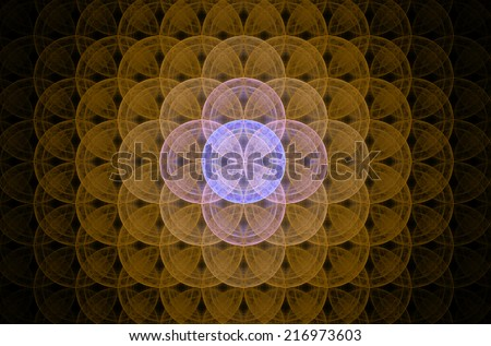Glowing yellow abstract fractal background with a detailed decorative flower of life pattern spreading from the center which is in shining pink and purple colors, all against black color. - stock photo