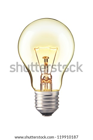 Glowing yellow light bulb,  Realistic photo image turn on tungsten light bulb isolated on white background - stock photo