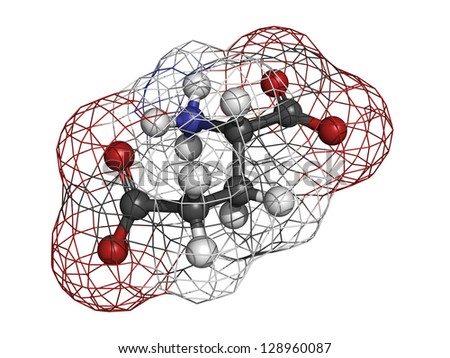 Glutamic acid (Glu, E, glutamate) amino acid and neurotransmitter, molecular model. Amino acids are the building blocks of all proteins. Glutamate is also responsible for umami flavor. - stock photo