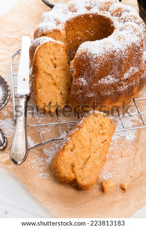 gluten-free cake with rice flour and kaymak - stock photo