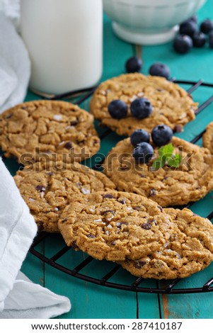 Gluten free chocolate chip cookies made from almond butter on a cooling rack - stock photo
