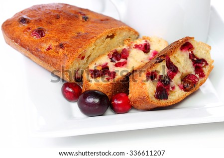 Gluten free cranberry bread for the holidays - stock photo