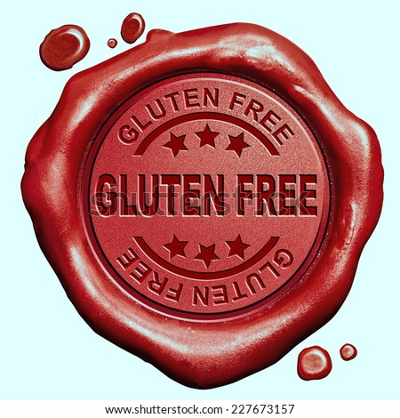 gluten free diet allergy product wheat intollerance red wax seal stamp button - stock photo