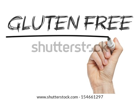 Gluten free diet concept -  handwritten with white chalk on a whiteboard - stock photo