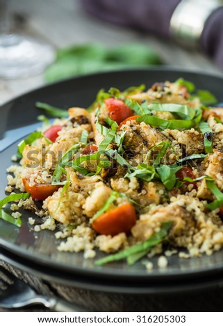 Gluten free salad with grilled chicken breast and quinoa - stock photo
