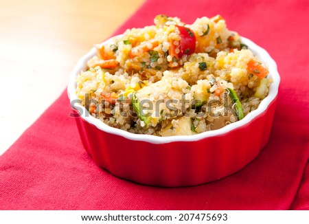 gluten free vegetarian salad made with quinoa  and fresh heirloom tomatoes - stock photo