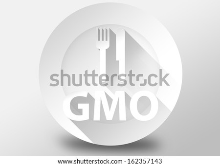 GMO concept with plate knife and fork, 3d illustration flat design - stock photo