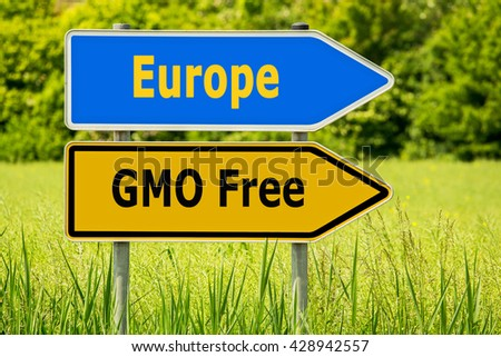 GMO (genetically modified organism) Free Europe. Yellow road signs with words GMO Free and blue arrow  highway directions signs with word Europe on green field background - stock photo