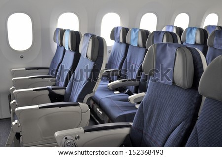 GNIEZNO, POLAND - AUGUST 4: Interior of the New Boeing 787 Dreamliner during a training flight from Bydgoszcz to Wroclaw on August 4, 2013 in Gniezno, Poland. - stock photo