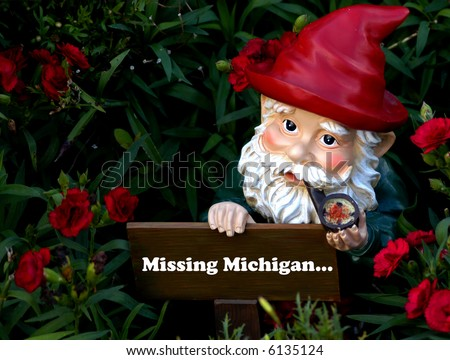 Gnome missing Michigan - stock photo