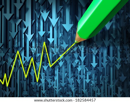 Go against the current and contrarian investing business concept as a group of three dimensional arrows going in a down direction contrasted by a pencil crayon drawing an upward investment. - stock photo