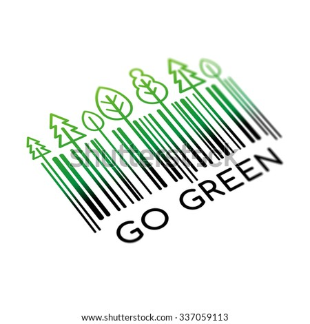 Go Green, barcode stickers - stock photo