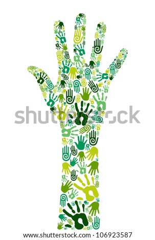 Go green concept: human hands icons composition isolated over white background. - stock photo