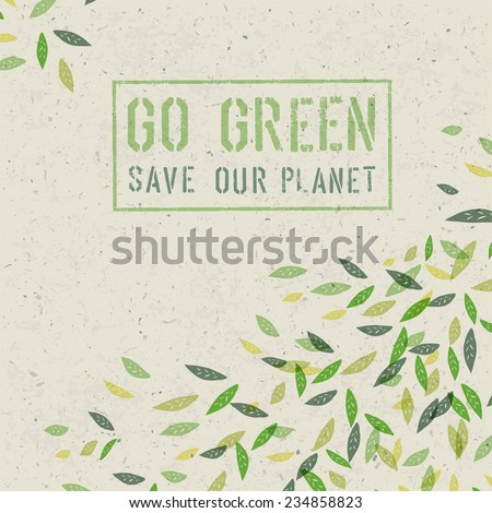 Go Green concept on recycled paper texture. Raster version - stock photo