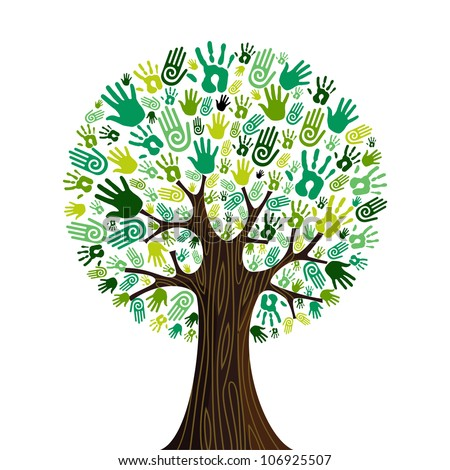 Go green crowd human hands icons in isolated tree composition. - stock photo