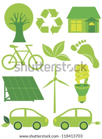 Go Green Eco Symbols with Tree Recycle Leaf Footprint Bicycle Solar Panels Windmill Electric Car and Bulb Raster Vector Illustration - stock photo