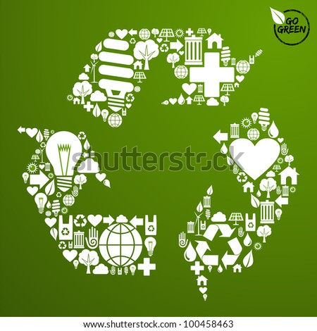 Go green icons set in recycle symbol shape background. - stock photo