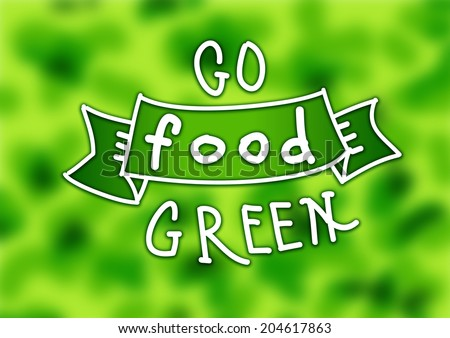 """go green: the text """"food"""" on the green tape isolated on a bright green background - stock photo"""