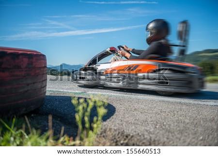 Go kart racing Professional Go Kart racing in circuit. - stock photo