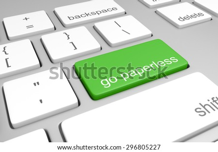 Go paperless key on a computer keyboard - stock photo