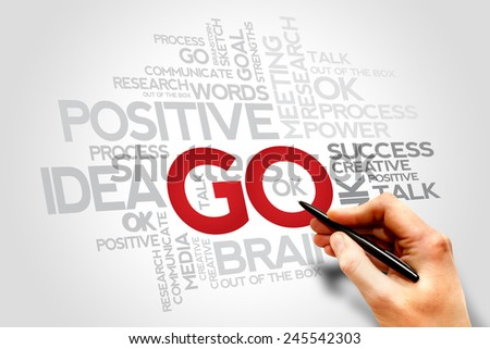 GO words cloud, business concept  - stock photo