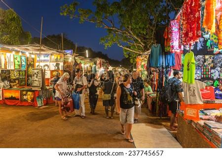GOA, INDIA - FEBRUARY 22: Goa Night Market on February 22, 2014, Goa, India - stock photo