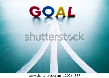 Goal concept, many ways to the goal - stock photo