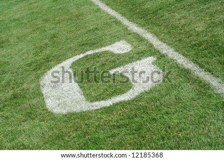 Goal line on a football field - stock photo