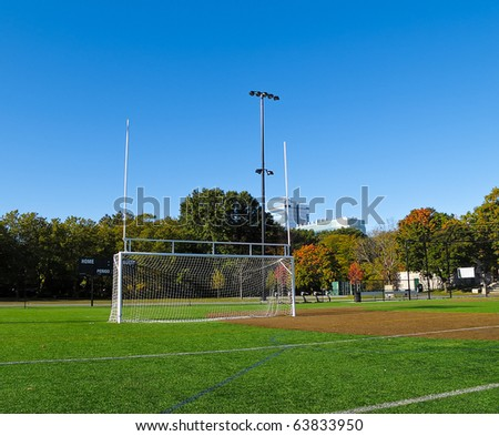 Goal Posts for both soccer and football designed for High School and College Sports - stock photo