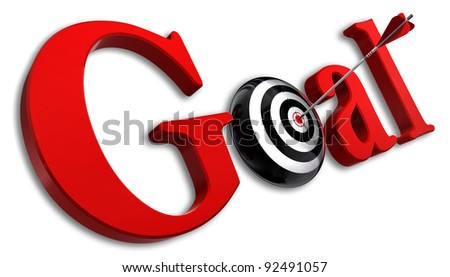 goal red word and conceptual target with arrow on white background - stock photo