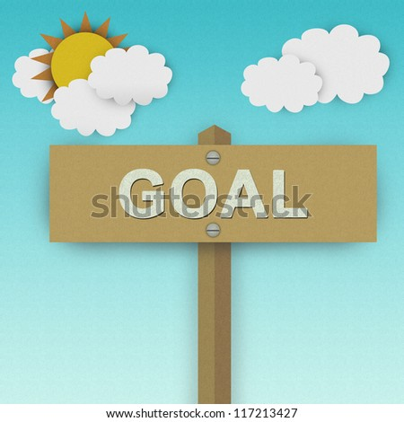 Goal Road Sign For Business Solution Concept Made From Recycle Paper With Beautiful Sun and White Cloud in Blue Sky Background - stock photo