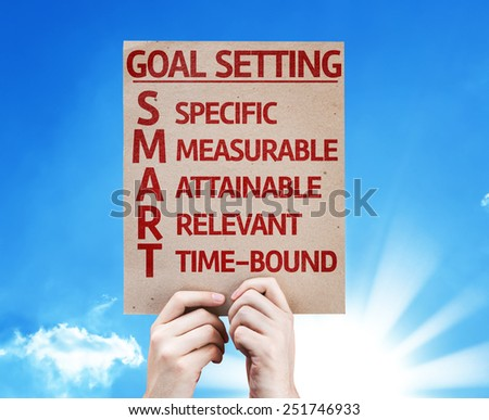 Goal Setting - SMART card with beautiful day - stock photo