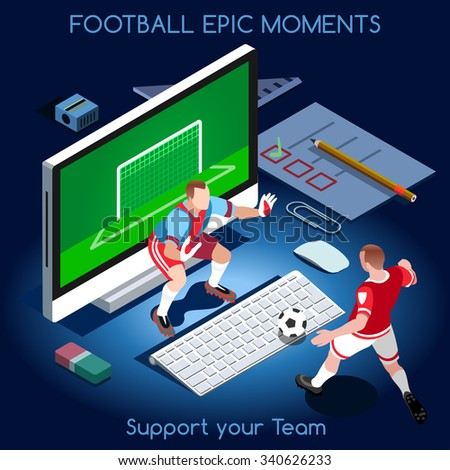 Goal Shooting. Football Epic Moments. Support your Soccer Team. Interacting People Unique Isometric Realistic Poses. NEW bright palette 3D Flat Set. Magic Nights. Football Players on Desktop Jpg Jpeg - stock photo