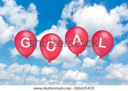 goal text on balloon with blue sky background - stock photo
