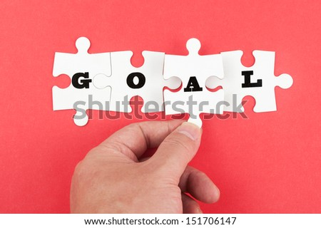 Goal word on group of jigsaw piece - stock photo